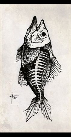 Skeleton Drawings, Fish Skeleton, Skeleton Tattoos, Art Drawings, Tatuagem Old Scholl, Desenho New School, Sara Fabel, Dinosaur Tattoos, Desenho Tattoo