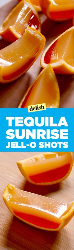 Tequila sunrise Jell-O Shots taste better when the sun goes down. Get the recipe on Delish.com.