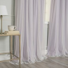 Best Home Fashion Lilac 96 in. L Marry Me Lace Overlay Blackout Curtain Panel - The Home Depot