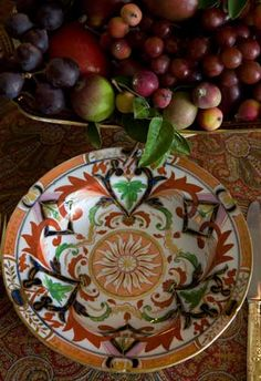 Love this pattern. Place Settings, Table Settings, Tablescapes, Dinnerware, Fall Decor, Serving Bowls, Entertaining, Autumn, Dishes