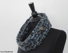 """You are looking at ONE Unique Knit Cowl Scarf. This one is made of acrylic worsted medium multicolour (black, grey, charcoal) yarn. + Approximately X"""" wide x XX"""" circumference Care Suggestio Cowl Scarf, Knit Cowl, Gifts For Wife, Gifts For Her, Handmade Scarves, Neck Scarves, Neck Warmer, Charcoal, Black And Grey"""