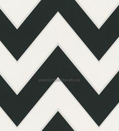 Dise o basado en l neas rectas negro y plata en este papel for Papel pintado blanco y plata