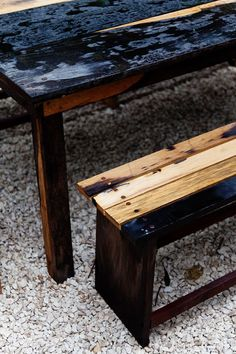 rustic table/bench with different woods