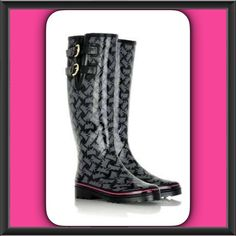 Juicy Couture Rain Boot Juicy Couture contrasting stripes accent the back of a fashionable rain boot patterned with signature Scotties and fitted with double buckle straps across the gored inset. Lugged rubber sole provides excellent traction in slippery conditions. Worn a few times but in great condition. Size 5 Juicy Couture Shoes Winter & Rain Boots