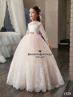 b5fb88f41e9526 Blush Flower Girls Dresses with Long Sleeves and Beaded Belt 2017 Pentelei  Princess Lace Tulle First Communion Gowns for Little Girls