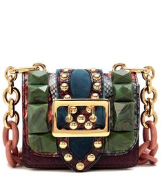 aa6ad05649d3 Sac cross-body multicolore en cuir d autruche et peau de serpent à ornements