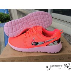 size 40 b96fc 415f4 Nike Roshe Run Orange Hot Punch Floral Nike Logo Barefoot Running Shoes, Running  Shoes On
