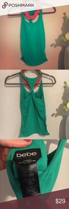 💥💥Bebe Bra Lined Green Tank Top ( so cute) 💥💥 Bebe Tank Top! Super tight and lined with bra bebe Tops Tank Tops
