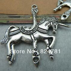 Free Shipping MIC 18Pcs Antique Silver Huge Unicorn Trojan Horse Charms 44mx46m Jewelry DIY W214-in Charms from Jewelry on Aliexpress.com