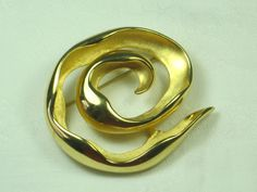 Vintage Swirl Brooch Heavy Gold Pin by LavenderGardenCottag