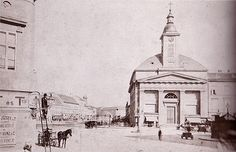 The building of the Lutheran Church at Deák Square, c. A section of the façade of the Orczy House, at the end of Országút, and the cupola towers of the synagogue in Dohány Street are visible behind the lamp-man. Old Photos, Vintage Photos, Exhibition Display, Lutheran, Budapest Hungary, Beautiful Buildings, Facade, Taj Mahal, Bali