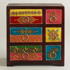 One of my favorite discoveries at WorldMarket.com: Painted Wood Box with Drawers $30