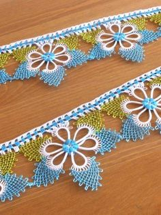 タオルの縁飾り:メキッキ・イーネ:アクアブルー もっと見る Needle Tatting, Needle Lace, Bobbin Lace, Crochet Borders, Crochet Stitches, Embroidery Stitches, Tatting Patterns, Crochet Patterns, Crochet Flowers