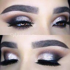Smokey Glitter Eye Makeup Look for New Years Eve