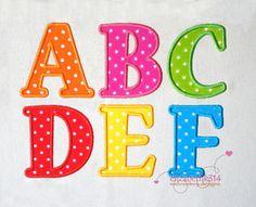 """Größen von 2,50""""-3""""-4""""-5""""-6 """"- Applique Stickerei Font 309 - Maschine Stickerei Design - 5 Applique Größen"""