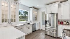 Glass Subway Tile Backsplash, Home Improvement Companies, Hardwood Floors, Flooring, Custom Kitchen Cabinets, Home Renovation, Contemporary Design, Craftsman, Countertops