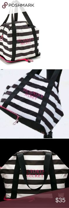 VICTORIA SECRET Soft Foldable Weekender Bag Victoria Secret Black and White Expandable Maximum hold zipper bag with hot pink lettering. Folds down to flat folder like size.(7.5 W x 11 x H) Colors: Bold black and white horizontal stripes. Versatile vinyl soft bag that can fit so much. Victoria Secret Bags Travel Bags