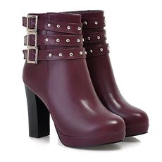 Pretty Buckle Desiged Round Toe High Heel Rivet Decorated Women's Boots