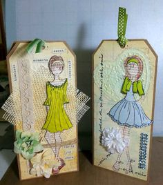 Julie Nutting - Mixed Media Doll Stamps make it so EASY to be creative! Look for them on Etsy from Crazy Crafty Creators.