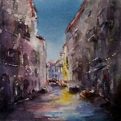 "Original watercolor by Julie Hill.Capturing Life with Brushstrokes: Venetian Colors 6"" x 6"""