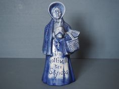 """Schafer and Vater Ironic Praying Alcoholic Lady Figural Bottle Flask """"Please God no more Schnapps"""" by TheVintageWindowUK on Etsy"""