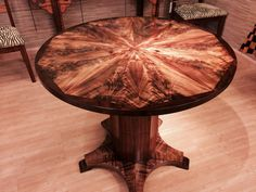 Gorgeous KOA Table with a top that looks like a feather fan.   www.martinandmacarthur.com