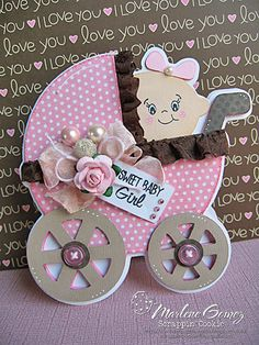My Craft Spot: Monday Challenge - Girly Girl projects Cricut Baby Shower, Baby Shower Cards, Baby Scrapbook, Scrapbook Cards, Scrapbooking, Baby Girl Cards, New Baby Cards, Baby Invitations, Cricut Cards