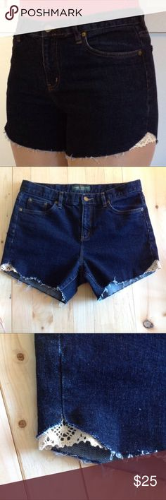 """Ralph Lauren Cut Off Shorts Crochet Embellished Recycled Ralph Lauren jeans turned into Shorts, crochet embellished, size 10, high rise, raw seam, approximate measurements when laying flat: 16"""" waist, 10"""" rise, 4"""" inseam, 12.5"""" length Shorts Jean Shorts"""