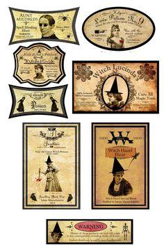Halloween Apothecary Labels, Halloween Bottle Labels, Halloween Potions, Apothecary Bottles, Halloween Vintage, Halloween Christmas, Halloween Cards, Halloween Diy, Halloween Decorations