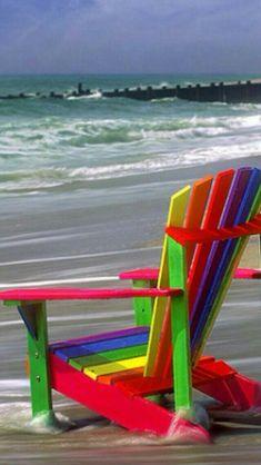 Marshalls Beach Chairs Beach Chairs Rainbow Colors Happy Colors Beach Pics Ocean Beach Colorful Posts Nursing Sea Waves Decorations For Homecoming Ocean Beach, Beach Bum, Rainbow Beach, Adirondack Chairs, Outdoor Chairs, Paradis Tropical, Beach Please, I Love The Beach, Beach Chairs