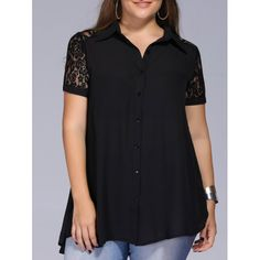 Chic Plus Size Buttoned Lace Patchwork Women's Shirt, BLACK, XL in Tops | DressLily.com