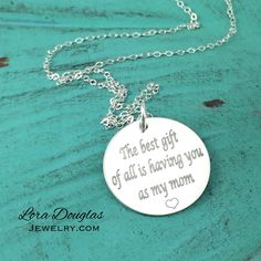 The best gift of all is having you as my mom #jewelry #jewellery #silverjewelry #silver #mom #mothersday #momlife #love #mothersday2016 #mother #etsy #etsyjewelry #handmade #handmadejewelry #fashion #accessory #accessories #style #necklace #silvernecklace