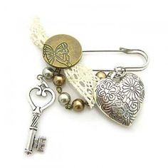 Fashion accessories jewelry brooch dicuore alloy beads