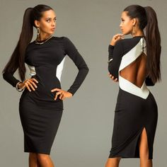 Black Patchwork White Irregular Cut Out Sexy Midi Dress