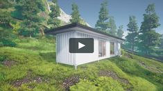 3D render of a single 40ft shipping container home or eco container cabin. For more shipping container designs and plans go to https://ecohomedesigner.com/