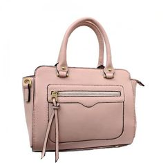 Double Handle Satchel Bag with Gold Tone Hardware – Handbag Addict.com