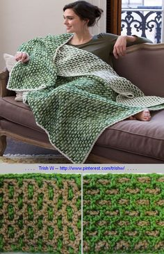 Top O' The Morning throw, free pattern from Red Heart Yarns; DC interwoven mesh, with very clear photo tutorial of how to make this stitch here - http://blog.redheart.com/march-featured-throw-of-the-month/?utm_source=WhatCounts+Publicaster+Edition&utm_medium=email&utm_campaign=H2H+-+March+2015&utm_content=Featured+Throw+%0D+of+the+Month . . . . ღTrish W ~ http://www.pinterest.com/trishw/ . . . . #crochet #afghan #blanket