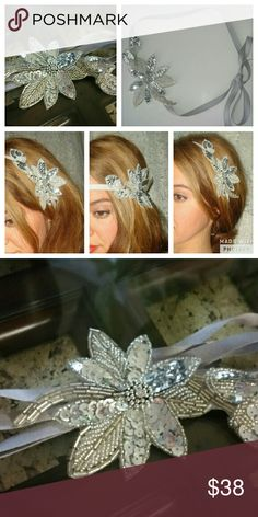 💍Silver Spring Flower Boho Wedding Bride Headband -----Beaded Bridal Headband-----  -Color: Silver and Gray -Materials: Applique adorned with sequins, crystals, and beads connected to a soft ribbon tie.  -Style: Can be worn as a headband, headwrap, or even as a dress sash/belt. Bridal, Boho, Vintage, Festival.  -Condition: Brand new.  ~~~~~~~NO TRADES. ~~~~~~~THANKS FOR LOOKING! ~~~~~~~HAPPY POSHING! Accessories Hair Accessories