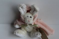 RABBIT with PINK Hooded CAPE, Boyd's Bears rabbit, white rabbit with pink cape, white plush rabbit, Vintage Archive Collection rabbit