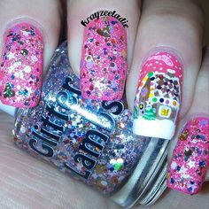 "Glitter Lambs 'Pink Gingerbread House"": Christmas Glitter Topper Nail Polish"