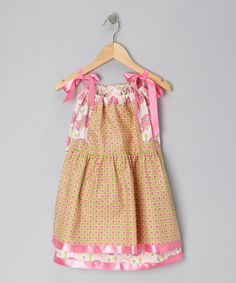 Take a look at this Hot Pink & Green Dot Pinafore Dress - Infant & Toddler by Cozy Bug on #zulily today!