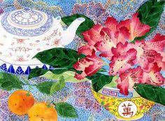 Rhododendron & teapot: Gabby Malpas watercolour