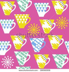 Multicolor  colorful cup seamless pattern and seamless pattern in swatch menu, vector image design - stock vector