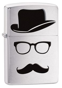 Zippo Moustache And Hat Brushed Chrome Windproof Lighter