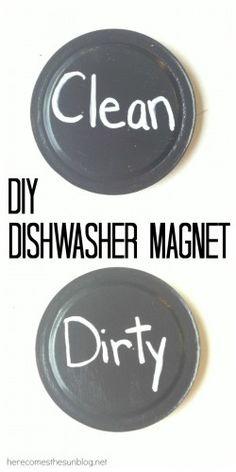 DIY dishwasher magnet using jar lids
