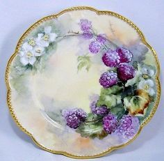 Antique Klingenberg Dwenger Limoges Hand Painted Plate w/ Blackberries N/R in Pottery & Glass, Pottery & China, China & Dinnerware, Limoges Antique Dishes, Antique Plates, Vintage Plates, Antique China, Ceramic Plates, Fruit Painting, China Painting, Hand Painted Plates, Decorative Plates