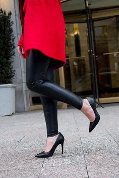 pleather leggings. faux leather leggings, black @BCBGMaxAzria pointed to pump heels. red wool coat.