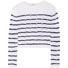 T By ALEXANDER WANG Cropped striped open-knit merino wool sweater (460 RON) ❤ liked on Polyvore featuring tops, sweaters, cropped sweaters, striped sweater, stripe crop top, open-knit sweater and stripe top