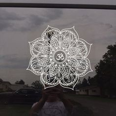 """OM Decal Car Decal Mandala Decal Decal wall Decal Om decal laptop decal zen hippy yoga decal boho hippie buddha meditation flower decal  Different Measurements available, 12+"""" decal recommended for vehicles for best visibility. Smaller 8"""" decals are very cute but will be hard to see from a distance, would look nice on side rear windows, etc in the smaller size or a variety of other surfaces (folders, laptops, etc). Auṃ or Oṃ, Sanskrit: ॐ) is a sacred sound and a spiritual icon in Indian…"""