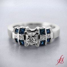 Grillwork Ring || Princess Cut Diamond and Blue Sapphire 14k White Gold Side Stone Engagement Ring